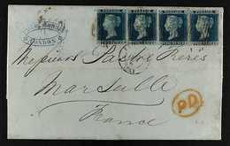 1855  (1 May) EL From London To Marseille Bearing A Very Fine Strip Of Four 1855 2d Blue Plate 4, Wmk Small Crown Perf 1 - 1840-1901 (Viktoria)