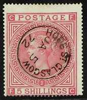"""1867-83  5s Rose Plate 1, SG 126, Used With Superb Complete """"HOPE ST. GLASGOW"""" Cds Cancel, Centred To Lower Left, Very F - 1840-1901 (Viktoria)"""