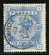 1883  10s Ultramarine On White Paper, SG 183, Very Fine Used With Lovely Bright Colour And Neat Central Bradford Cds Can - 1840-1901 (Viktoria)