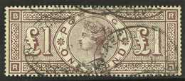 1884  £1 Brown - Lilac Wmk Imperial Crowns, SG 185, Used With Light Registered Oval Pmks, Strong Rich Colour & Full Perf - 1840-1901 (Viktoria)
