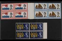 1963  Lifeboat Conference Phosphor Complete Set, SG 639p/41p, Superb Never Hinged Mint Marginal BLOCKS Of 4, Very Fresh. - 1952-.... (Elisabeth II.)