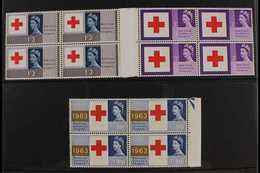 1963  Red Cross Congress Phosphor Complete Set, SG 642p/44p, Superb Never Hinged Mint Marginal BLOCKS Of 4, Very Fresh.  - 1952-.... (Elisabeth II.)