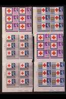 1963  Red Cross Centenary Congress Ordinary And Phosphor Sets In CYLINDER NUMBER BLOCKS OF SIX,SG642/4, 642p/4p, Super - 1952-.... (Elisabeth II.)