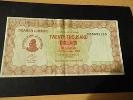 Bank Of Simbabwe  20.000 Dollars 2003 - Simbabwe