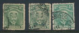 RHODESIA, 1913 0.5d Yellow-grn, Blue-grn, Deep Grn Fine, SG186-188 - Rhodesia Del Nord (...-1963)