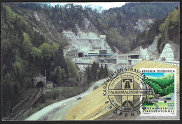 Austria, 1991, Karawanken Tunnel Opening, Photography With Attached Stamp, Commemorative Cancellation - 1945-.... 2. Republik