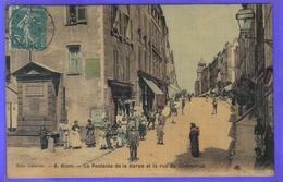 Carte Postale Toilée 63. Riom  La Fontaine De La Harpe Et Le Rue De Commerce Très Beau Plan - Riom