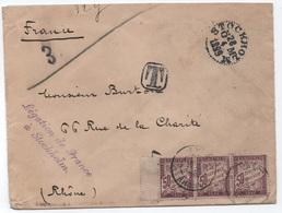 Lettre Non Affranchie 3ème échelon (rare) Légation France Stockholm Suède 1899 TAXE Bande De Trois 50c Banderole Duval - 1859-1955 Covers & Documents
