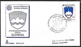 SMOM, Malta Military Order, 1994, Slovenian Coat-of-Arms, FDC - Slovenia