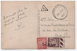 TAXE 50c + 30c Banderole Duval Annulé Griffe Linéaire 5e Arrt (PARIS 5e) Carte Non Affranchie 1937 - 1859-1955 Covers & Documents