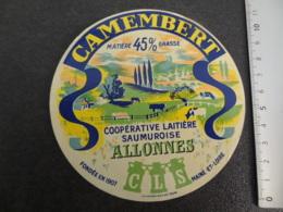 Etiquette De Camembert Coopérative Laitière Saumuroise Allonnes Maine Et Loire - Cheese