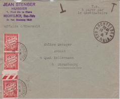 1939 Lettre TAXE SIMPLE 90c Spécifique Alsace (Huissier > Avocat) Hochfelden > Strasbourg 3 X 30c Banderole Duval - 1859-1955 Storia Postale