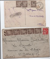 TAXE 10c à Plat Millésime 4 Encadré / CP 1917 Trouvé à La Boîte + Lettre (Paix) Bande De 5 Impression Rotative 1936 - Taxes