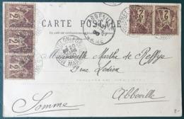 France N°85 (x5) Sur CPA 1900 - TAD MOURMELON LE GRAND Pour Abbeville - (B180) - 1877-1920: Période Semi Moderne
