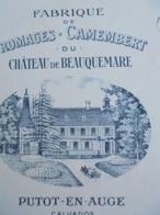FACTURETTE - 14 - DEPARTEMENT DU CALVADOS - PUTOT EN AUGE 1918 - CAMENBERT DU CHATEAU DE BEAUQUEMARE : GASTON FOUENNE - Non Classés