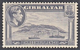 GIBILTERRA 1938 1 1/2d SLATE VIOLET  SG 123b  P. 13  MLH SUPERB STAMP - Gibraltar