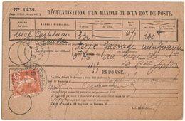 ANNEE 1938 REGULARISATION D'UN MANDAT N° 1438 CASTELNAU D'AUDE Vers FABREZAN AUDE TIMBRE SEMEUSE OBLITERATION PERLEE - Postmark Collection (Covers)