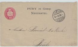 Tübli-Brief 10 Rp. - Briefvorderseite - 1876 Pury & Comp Neuchatel Nach Basel La Roche - Entiers Postaux