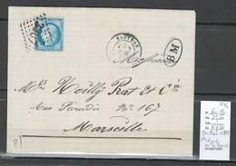 France - Lettre De SARTENE - Corse - Yvert 60 -  Cachet BM De Sainte Lucie De Tallano - 1874 - 1849-1876: Période Classique