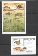 H539 MALDIVES GREEN TURTLES ANIMALS FAUNA MARINE LIFE REPTILES 1KB+1BL MNH - Turtles