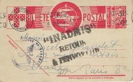 INADMIS RETOUR À L'ENVOYEUR Entier Postal Portuguais Lisbonne 12 Octobre 1940 Pour Paris - Censure Allemande - Rare - Storia Postale