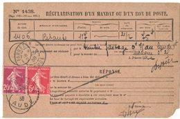 ANNEE 1938 REGULARISATION D'UN MANDAT N° 1438 RIBAUTE AUDE Vers FABREZAN AUDE PAIRE SEMEUSE 20c + 5c - Postmark Collection (Covers)