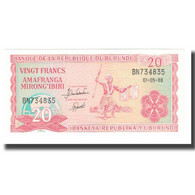 Billet, Burundi, 20 Francs, 1988, 1988-05-01, KM:27b, NEUF - Burundi