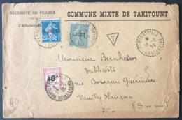 Algérie N°10 Et 14 Sur Lettre (TAKITOUNT), TAD (type B4) PERIGOTVILLE, Constantine 1925 - Taxe N°50 - (F416) - Briefe U. Dokumente