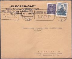 Lettre Pologne - 1932 - Enveloppe Pub Electro-Gaz - YT: PLn° 276 + 318 - 1919-1939 République