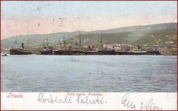 Trieste (Triest) * Porto Nuovo, Freihafen, Segelboot, Dampfer, Hafen * Italien * AK2660 - Trieste
