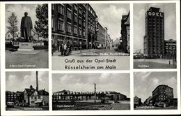 Cp Rüsselsheim Am Main In Hessen, Adam Opel Denkmal, Hochbau, Opelbahnhof - Sonstige