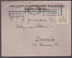 Lettre Pologne - 1926 - Enveloppe Pub Zwiazek Elektrowni Polskich, Warszawa, Kopernika - YT: PL N° 12 - 1919-1939 République