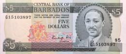 Barbados 5 Dollars, P-37 (1986) - About Uncirculated - Barbados