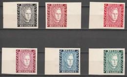 Belgie     .      OBP    .   6 Zegels  Dik Papier  Type D    .    (*)     . Geen  Gom  .   /   .  Pas De Gomme - Nuevos