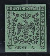 ITALIA ANTICHI STATI MODENA 1852 C.5 VERDE NUOVO GOMMA INTEGRA MNH** PERIZIATO VACCARI QUALITA' LUSSO CV €160 - Modena