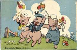 Les Cochons De Willy Barnabé ,Titin Et Moi .. Rv Cachet 247e RI Bat 3 - Cochons