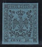 ITALIA ANTICHI STATI MODENA 1852 C.40 AZZ. SCURO NUOVO GOMMA INTEGRA MNH** PERIZIATO VACCARI QUALITA' LUSSO CV € 200 - Modena