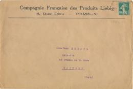 """N°159 PERFORÉ """" CF PL """" Compagnie Française Des Produits Liebig """" Paris SEUL Sur Lettre Imprimé > Castres Tarn - France"""