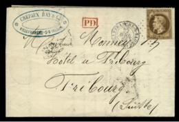 RHONE - LAC - Tàd T15 VILLEFRANCHE (1868) + GC 4245 Sur N° 30 -> Fribourg (Suisse) - Postmark Collection (Covers)