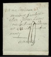 SEINE ET OISE - LAC - 72 LIVRY (21x9) En Rouge (1805) + Taxe 10 Pour Nancy (52) - 1801-1848: Précurseurs XIX