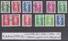 France Marianne De Briat (1991-93) Y/T Série 2714/17 + 2770 + 2790 + 2806X2 + 2807 + Série 2820/22 Oblitérés (lot 1) - 1989-96 Marianne Du Bicentenaire