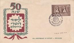50th ANNIVERSARY OF ROTARY - JERUSALEM. ISRAEL FDC ANNEE 1955 JERUSALEM, JUDAISME -LILHU - FDC