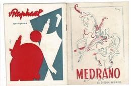 Cirque MEDRANO Programme Du 3 Au 30 Septembre 1954 + Son Supplément ( 47 Spectacles De Paris Du 22 Au 28 Sept 54) - Programmes