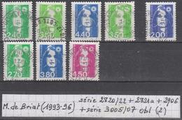 France Marianne De Briat (1993-96) Y/T Série 2820/22 + 2821a + 2906 + Série 3005/07 Oblitérés (lot 2) - 1989-96 Marianne Du Bicentenaire