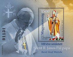 Hungary - 2020 - Centenary Since Birth Of Saint Pope John Paul II - Mint Souvenir Sheet (standard Perforation) - Unused Stamps