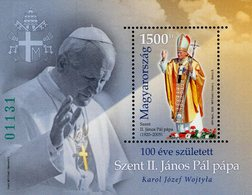 Hungary - 2020 - Centenary Since Birth Of Saint Pope John Paul II - Mint Souvenir Sheet (special Perforation, Green #) - Unused Stamps