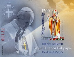 Hungary - 2020 - Centenary Since Birth Of Saint Pope John Paul II - Imperforated Souvenir Sheet (red Number) - Unused Stamps