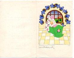 Jeanne Hebbelynck  Geboortekaartje Yvette  1947   Fairepart De Naissance Blankenberge Wiegje Berceau  In Nederlands - Birth & Baptism