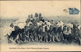 Cp Mali, Soudan, Construction Dùne Route à Fada N`Gourma, Ouvriers Indigène, Portrait, Tambour - Afrique Du Sud