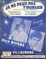 """PARTITION Dick Rivers / Vic Laurens  """"  Je Ne Peux Pas T'oublier  """" - Musique & Instruments"""